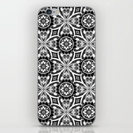 Retro . Lace black and white pattern . White lace on a black background . iPhone Skin