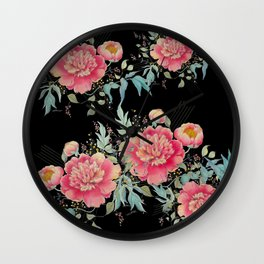 Gipsy paeonia in black Wall Clock
