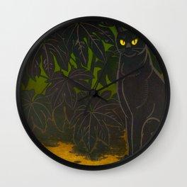 Black Cat yellow eyes Inagaki Tomoo Vintage Japanese Woodblock print, mid century, Moder Cubism Wall Clock