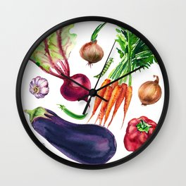 vegetables watercolor Wall Clock
