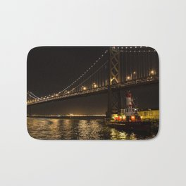 Bay Bridge Fire Boat at Night Bath Mat