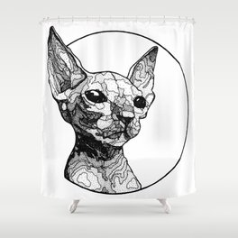 Inside out sphynx cat Shower Curtain