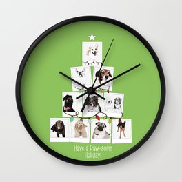 Have a Paw-some Holiday! Wall Clock