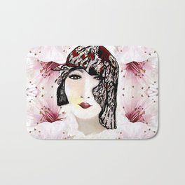 Floral 40's Queen on White,Burgundy and Black Bath Mat