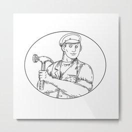 Vintage Carpenter Hammer Mono Line Metal Print