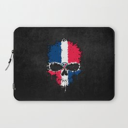 Flag of Dominican Republic on a Chaotic Splatter Skull Laptop Sleeve