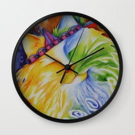 Cat Abstract Original Art Wall Clock