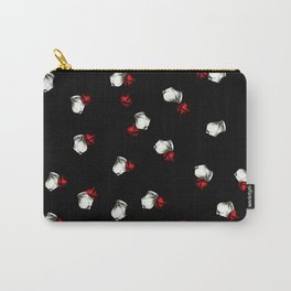 White and Red Roses on Black Background Carry-All Pouch