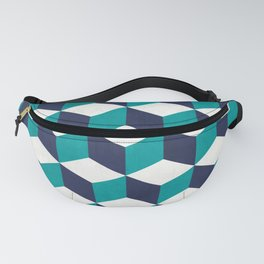Geometric Cube Pattern - Turquoise, White, Blue Fanny Pack