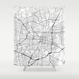 Greensboro Map, USA - Black and White Shower Curtain
