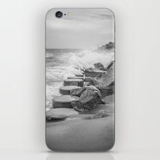 Rocks on the Sea Wall at Fort Fisher NC Sepia Black and White iPhone & iPod Skin