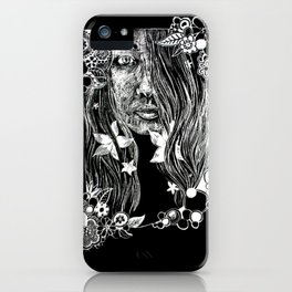 Black and White Flower Girl Line Cut iPhone Case