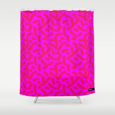 Hot Pink Cheese Doodles /// www.pencilmeinstationery.com Shower Curtain