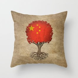 Vintage Tree of Life with Flag of China Throw Pillow