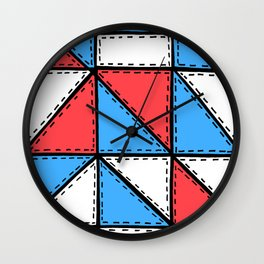 Marker Patchwork – Triangles and Rectangles – Red Blue White Wall Clock