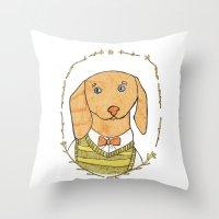 dachshund Throw Pillows featuring Dachshund by MariyArti
