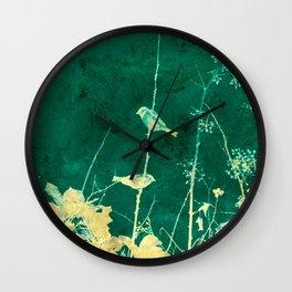 Yellow Birds on Vine Wall Clock