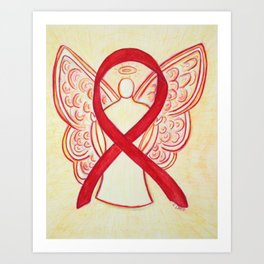 Red Awareness Ribbon Angel Art Art Print