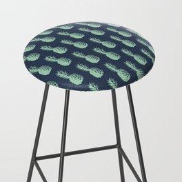 Pineapples - Dark Blue & Light Green #581 Bar Stool