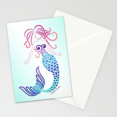 Tribal Mermaid with Ombre Turquoise Background Stationery Cards