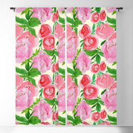 Pretty in Pink Garden of Roses Blackout Curtain