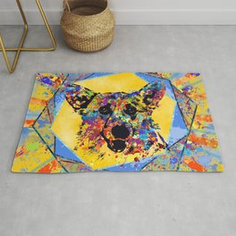 Colorful Corgi Portrait Abstract Mixed Media Rug