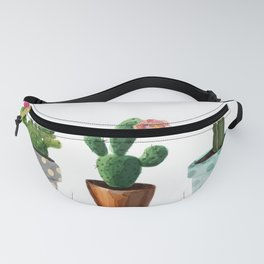 Three Cacti With Flowers On White Background Fanny Pack