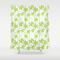 amelie Shower Curtains featuring Flowers for Amelie Pattern  by A Creative Need