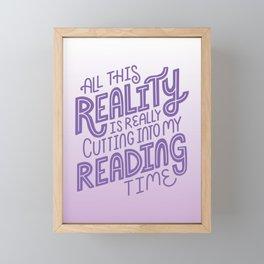 Reality Vs. Reading Bookish Purple Framed Mini Art Print