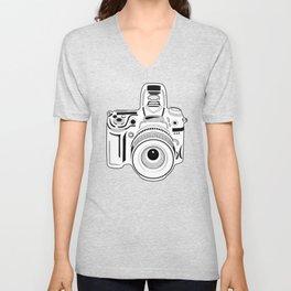 Black and White Camera Unisex V-Neck