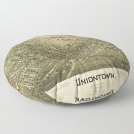 Aerial View of Uniontown, Pennsylvania (1897) Floor Pillow