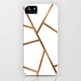 White and Gold Fragments - Geometric Design iPhone Case