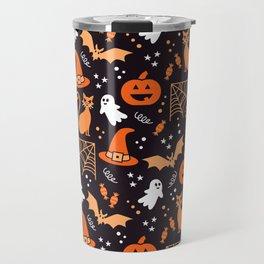 Halloween party illustrations orange, black Travel Mug