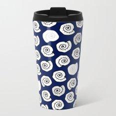 seashell - pop blue pattern Metal Travel Mug