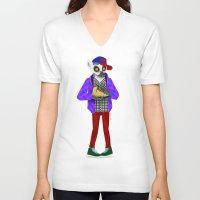 sneaker V-neck T-shirts featuring Sneaker Lemur by Dyna Moe