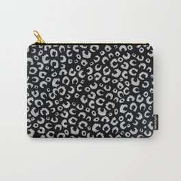 Elegant Black Silver Glitter Leopard Animal Print Carry-All Pouch