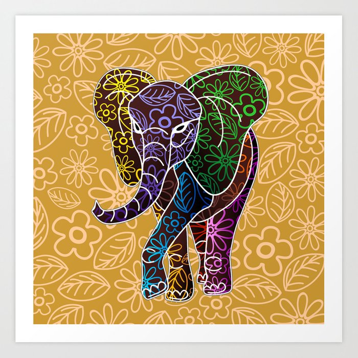 Elephant Floral Batik Art Design Art Print By