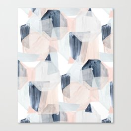 Abstract Shapes Blush + blue by Crystal Walen Canvas Print