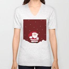 Santa In The Snow Unisex V-Neck