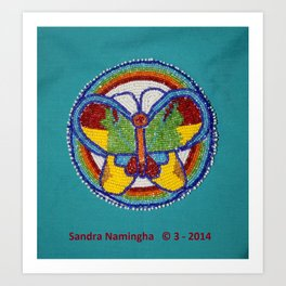 Beaded Butterfly Medallion Art Print