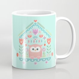 Scandinavian Folk Style Owl Bird House Coffee Mug