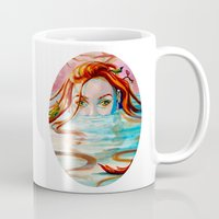 siren Mugs featuring Siren  by Amanda Sharples Illustration