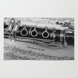 B Flat Clarinet in Black & White Rug