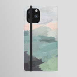 Seafoam Green Mint Black Blush Pink Abstract Nature Land Art Painting iPhone Wallet Case