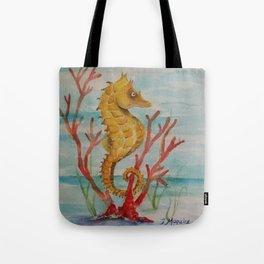 Salty Seahorse in Coral Reef  Tote Bag