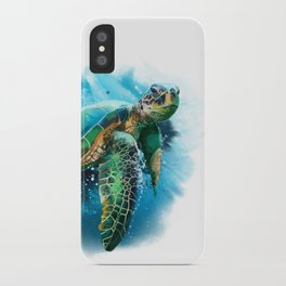 Abstract Watercolor Sea Turtle on White 3 Minimalist Coastal Art - Coast - Sea - Beach - Shore iPhone Case