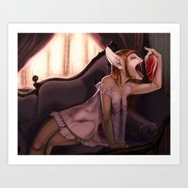Greedy Kitty  Art Print