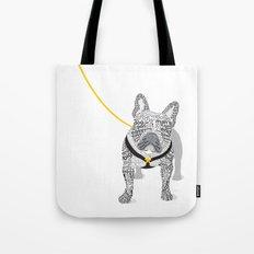 Typographic French Bulldog - Black and White Tote Bag