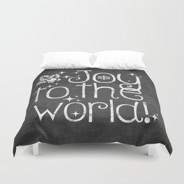 Joy to the world chalkboard christmas lettering Duvet Cover
