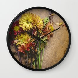 Rustic Flowers (Color) Wall Clock